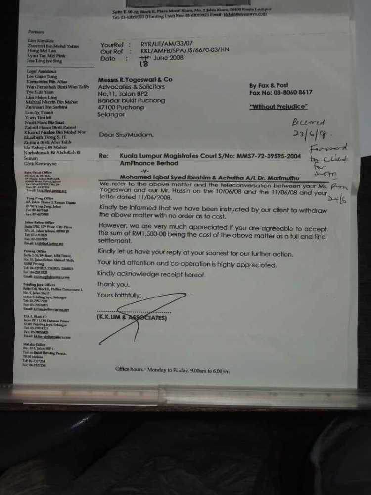 AmBank withdrawl letter