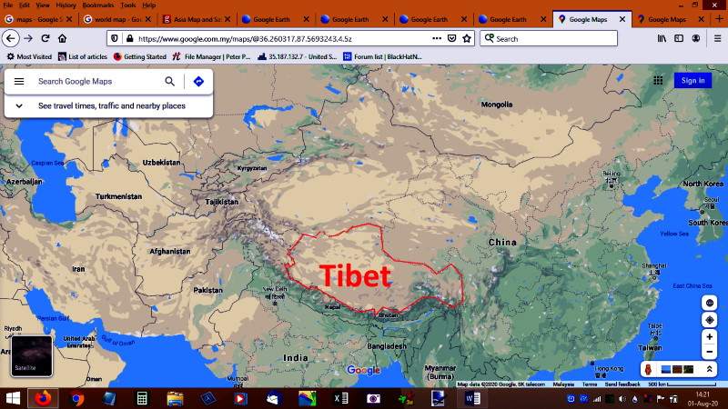 Location and size of Tibet