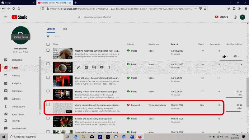 YouTube dashboard removed coconut oil coronavirus video