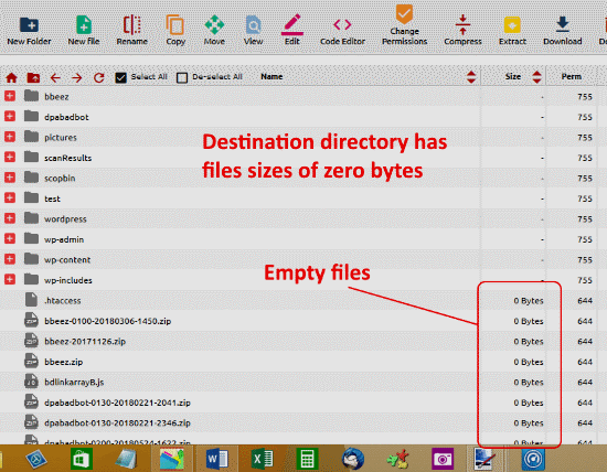 empty destination files