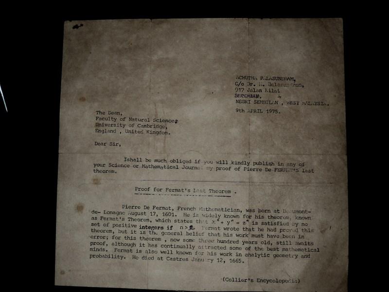Letter to Cambridge University